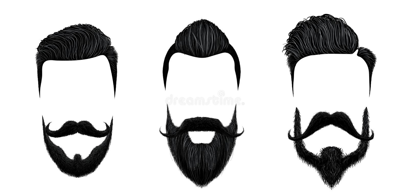 Men hair and moustache styling. Vintage gentleman haircut, beauty beard and fashion mustaches styles vector illustration royalty free illustration