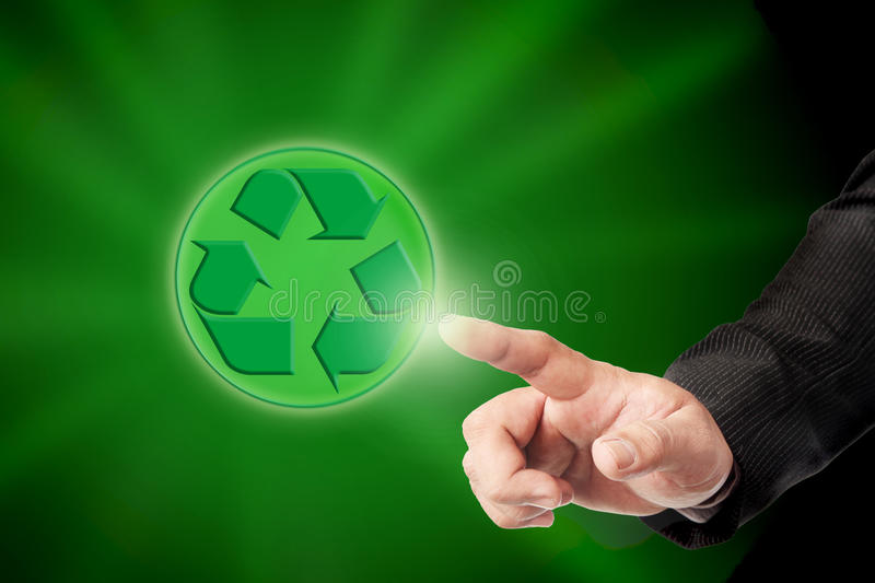 Men hand hold recycle sign. Male hand and recycle sign for green world concept stock image