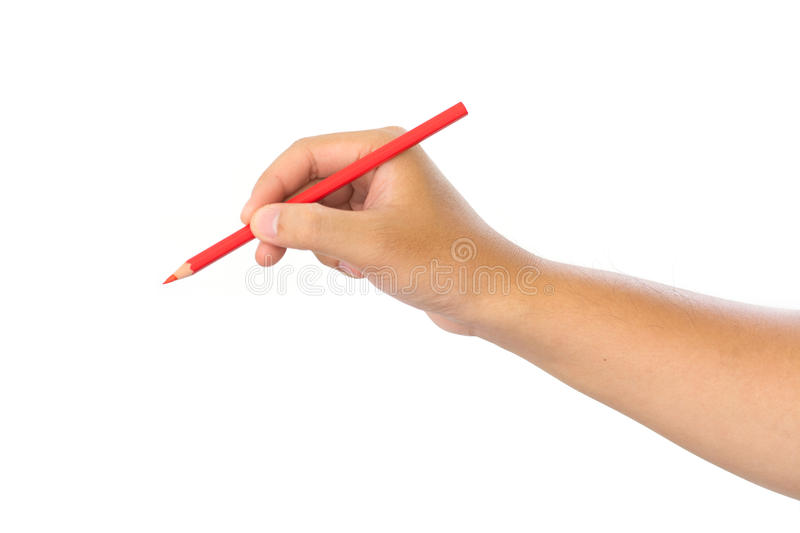 Men hand holding red pencil royalty free stock photo