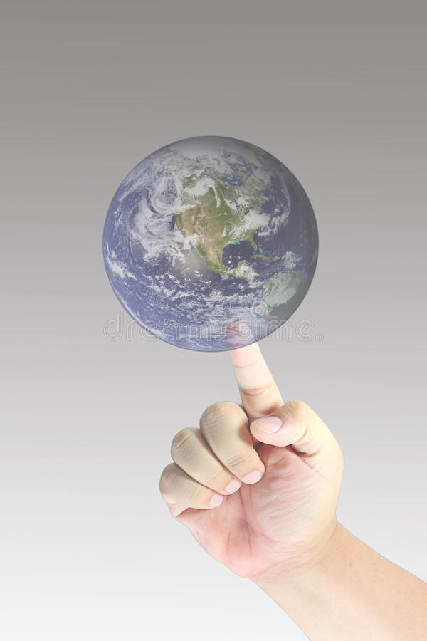 Men Hand Touch Earth Royalty Free Stock Images