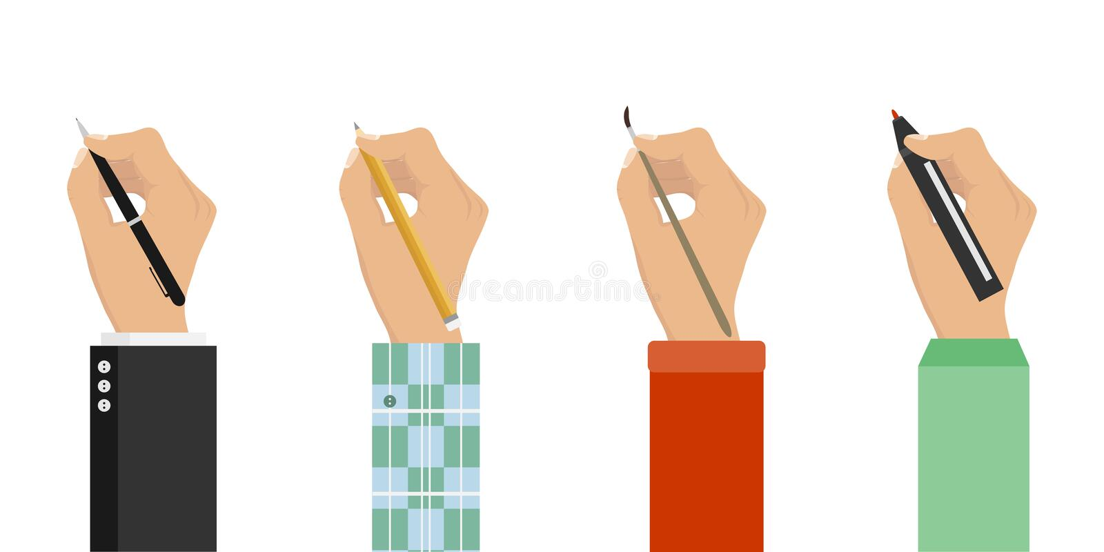 Men hands with writing tools and office supplies set. Flat illustration of human men hands with pen stock illustration