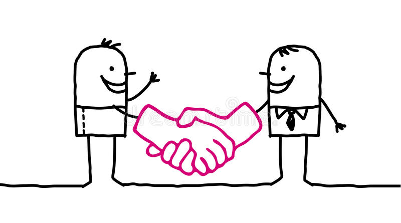 Men handshaking. Hand drawn cartoon characters - men handshaking