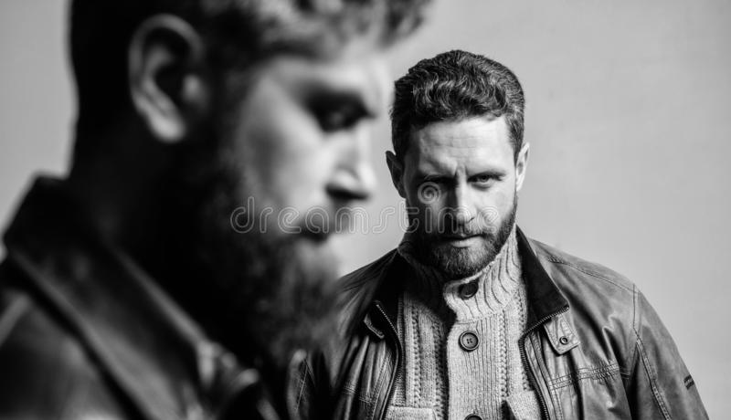 Men handsome with beard and mustache facial hair. Barber and beard grooming. Masculine men with well groomed beard. Masculinity and brutal appearance. Male stock photos