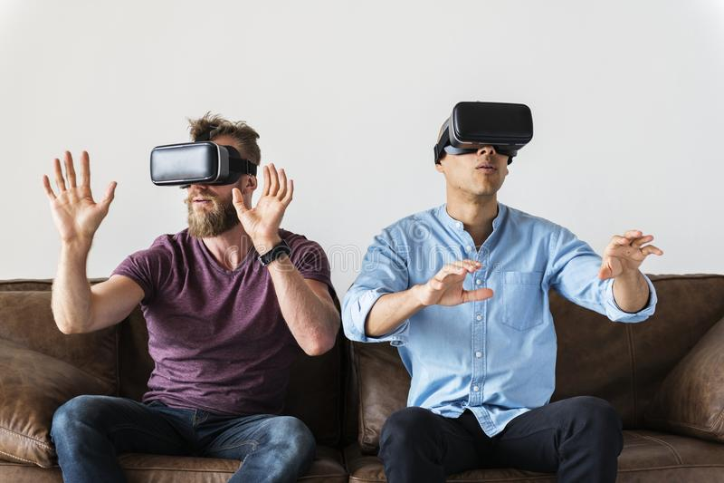 Men having fun with VR stock photo