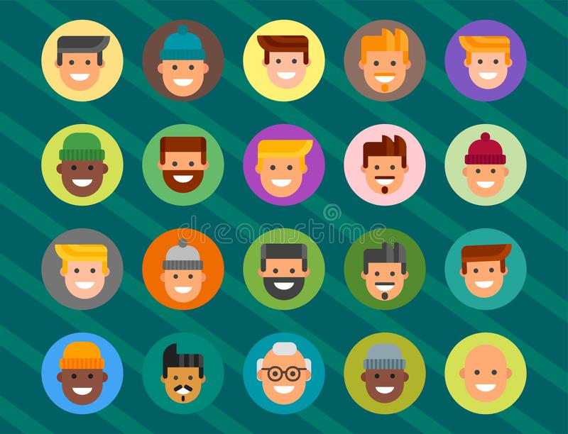 Men head portrait different nationality friendship character team happy people young guy person vector illustration. Handsome teamwork casual fashion friends stock illustration