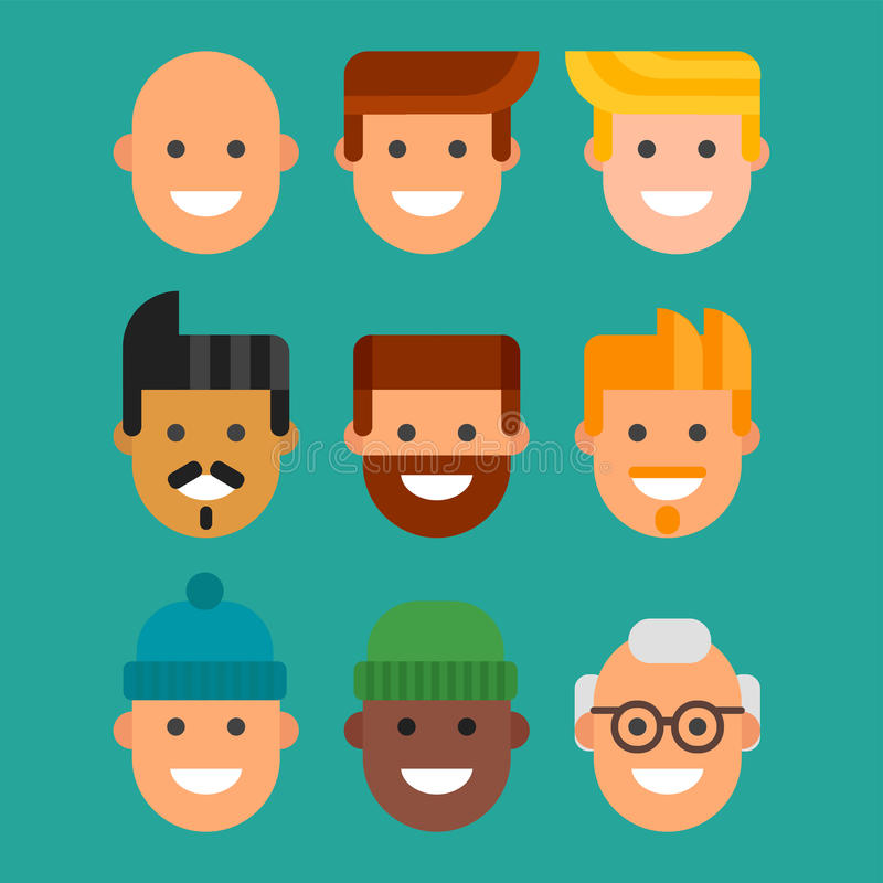 Men head portrait different nationality friendship character team happy people young guy person vector illustration. Handsome teamwork casual fashion friends royalty free illustration