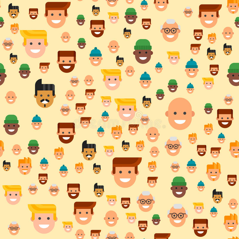 Men head portrait seamless pattern friendship character team happy people young guy person vector illustration. Handsome teamwork casual fashion friends stock illustration