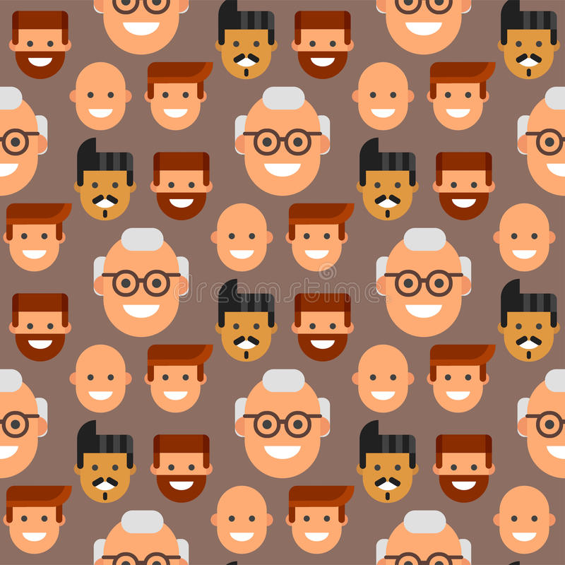 Men head portrait seamless pattern friendship character team happy people young guy person vector illustration. Handsome teamwork casual fashion friends vector illustration