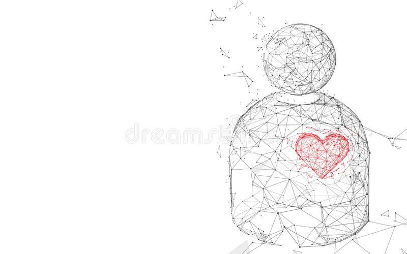 Men and heart form lines, triangles and particle style design vector illustration