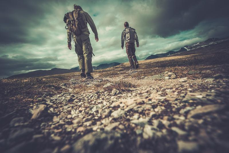Men hikers in Scandinavia royalty free stock images