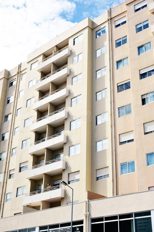 Cityscape scenery at Matosinhos Portugal. A men in his apartment at Matosinhos city in Portugal stock image