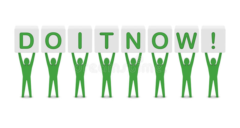 Men Holding The Phrase Do It Now! Royalty Free Stock Image
