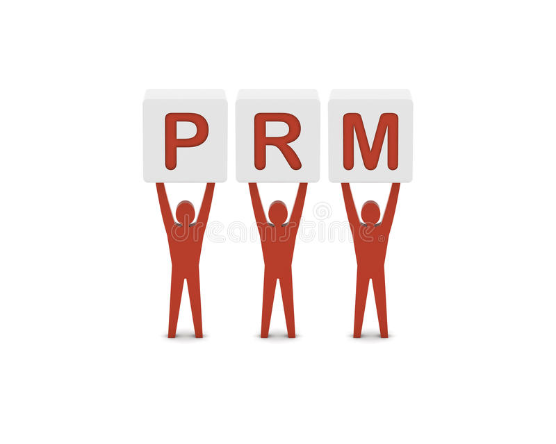 Men holding the word PRM.Partner Relationship Management.