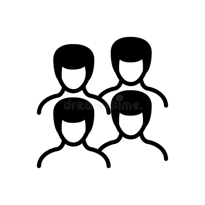 Black solid icon for  Men, people and human. Black solid icon for  Men, fellow, adult, group, team, miscellaneous,  people and human stock illustration