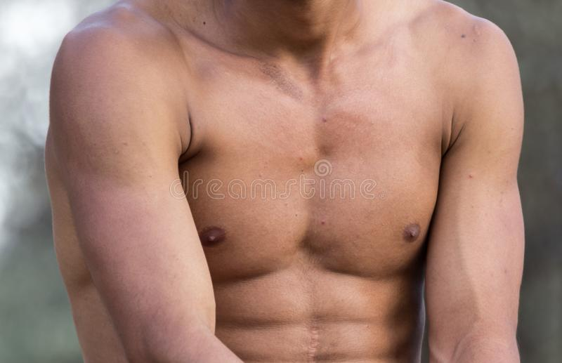 Men inflated chest as background royalty free stock photography