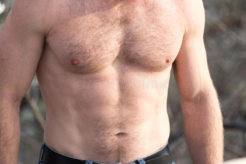 Men inflated chest as background stock images