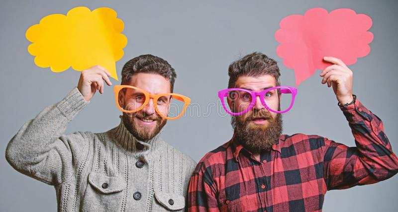 Men joking. Share opinion speech bubble copy space. Comic and humor sense. Men with beard and mustache mature hipster royalty free stock photo