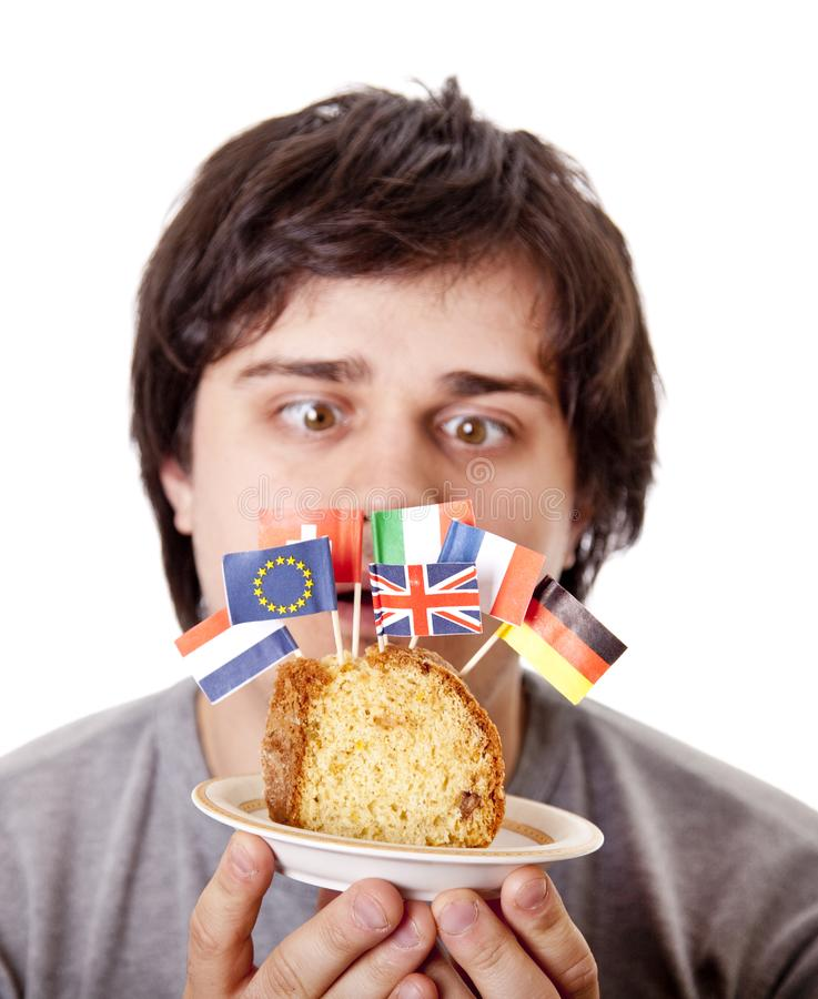 Download Men Keep Cake With European Flags. Stock Photo - Image of france, europe: 18449494