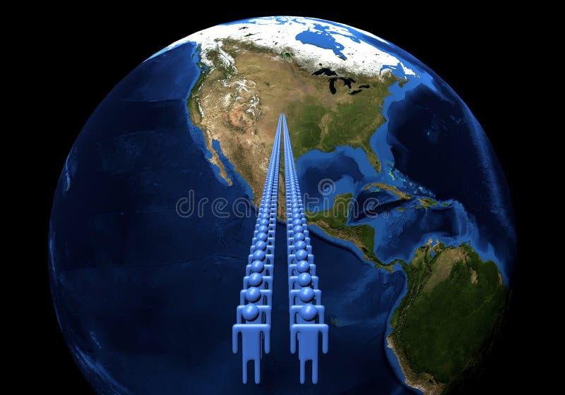 Men leading to USA on Earth globe stock illustration