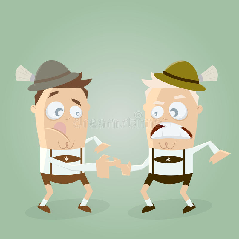 Men in lederhosen doing bavarian sports fingerhakeln. Illustration of men in lederhosen doing bavarian sports fingerhakeln royalty free illustration