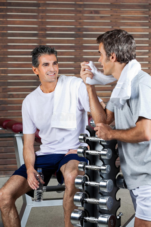 Men Looking At Each Other After Work Out royalty free stock images