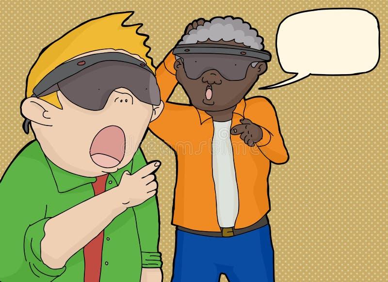 Men Looking at Virtual Reality stock illustration
