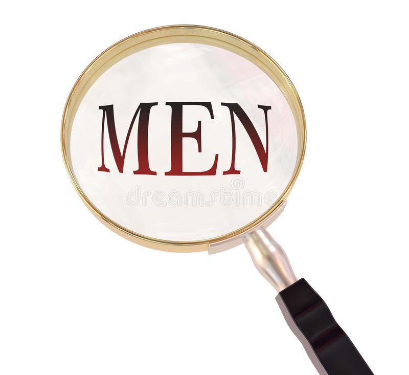 Men magnify. By 3d rendered magnifying glass on isolated white background stock illustration