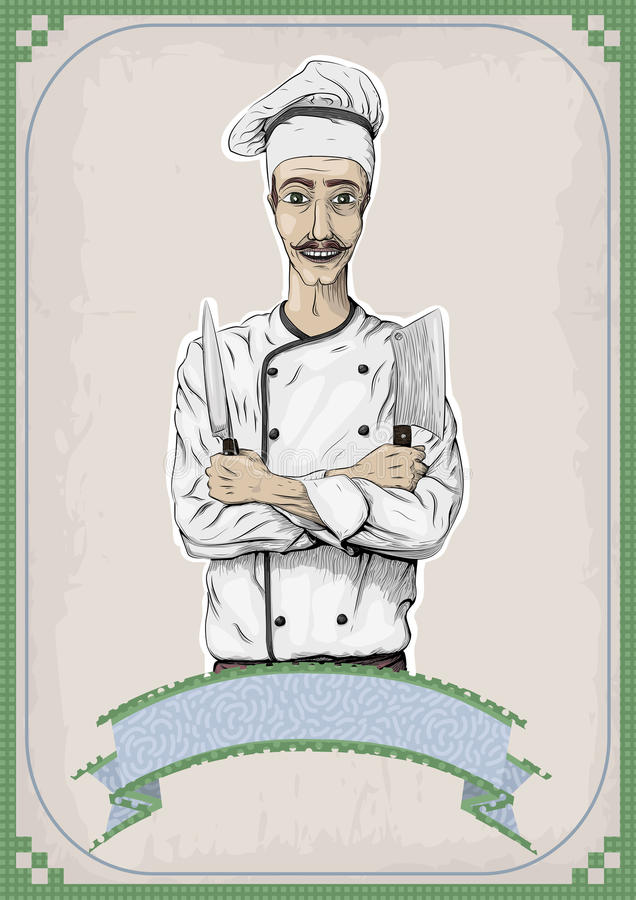 Men male person young cook chief-cooker chef worker happy smile. Cross arms with knives, knife over chest portrait. close-up vertical beautiful color linear stock illustration