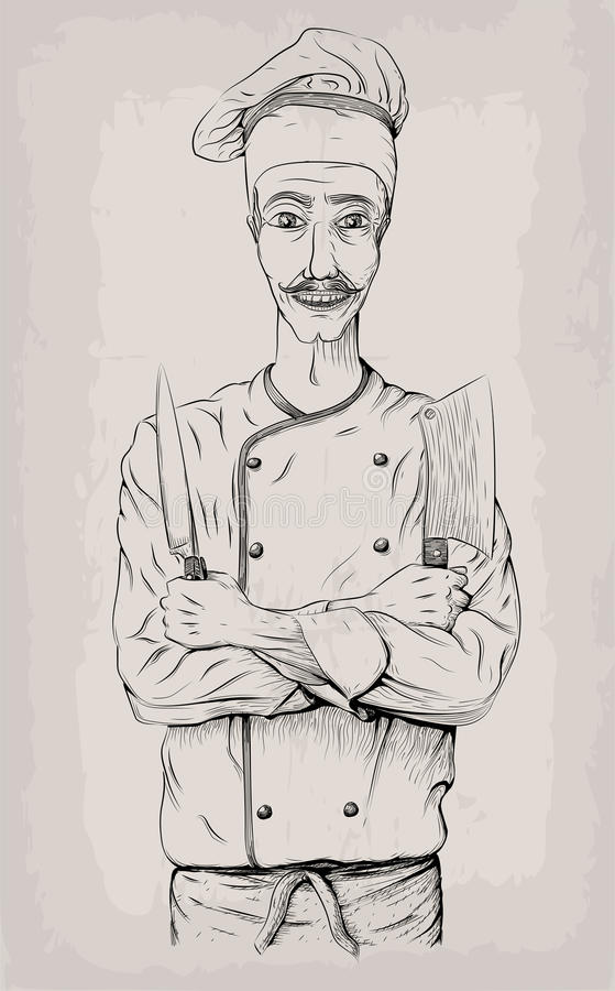 Men male person young cook chief-cooker chef worker happy smile. Cross arms with knives, knife over chest portrait. Vector close-up vertical beautiful black stock illustration