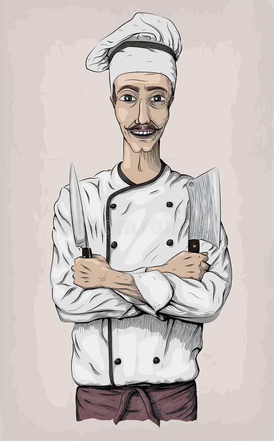 Men male person young cook chief-cooker chef worker happy smile. Cross arms with knives, knife over chest portrait. Vector close-up vertical beautiful color royalty free illustration