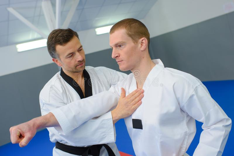 Men on martial arts class royalty free stock images