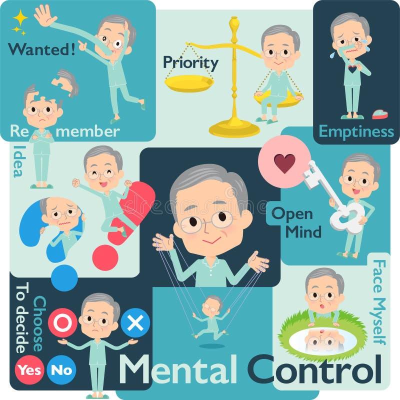 Men_Mental velho paciente ilustração do vetor