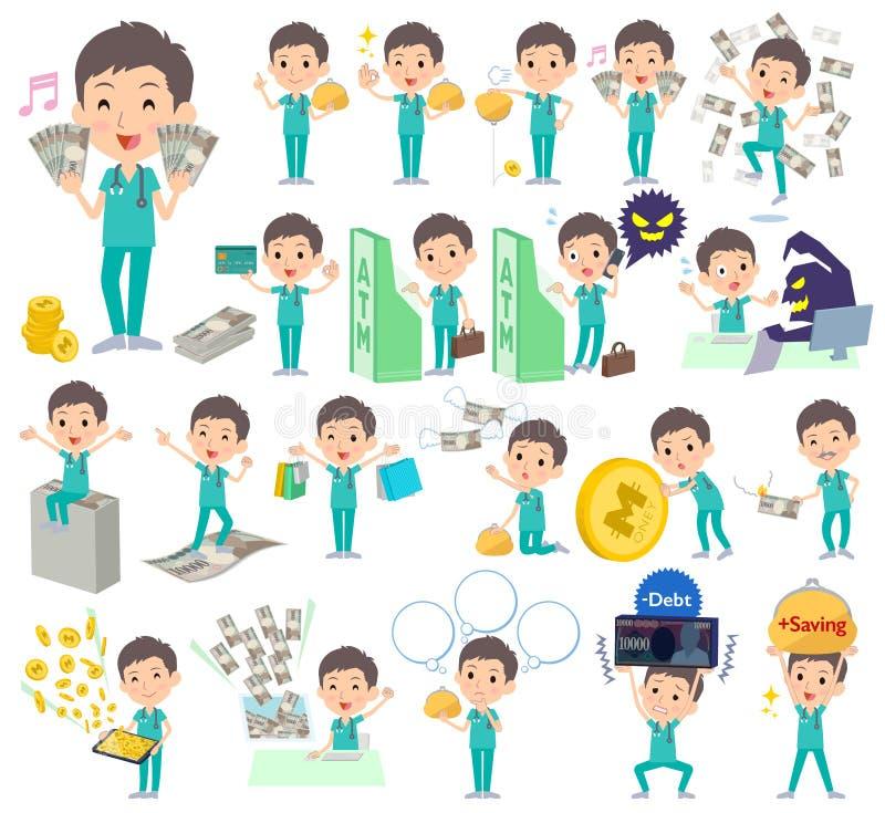 Men_money d'usage de vert d'opération chirurgicale illustration stock