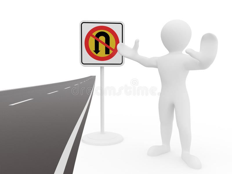 Men with No U Turn road sign. 3d stock illustration
