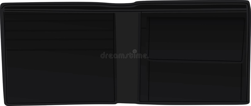 Men open black wallet royalty free illustration