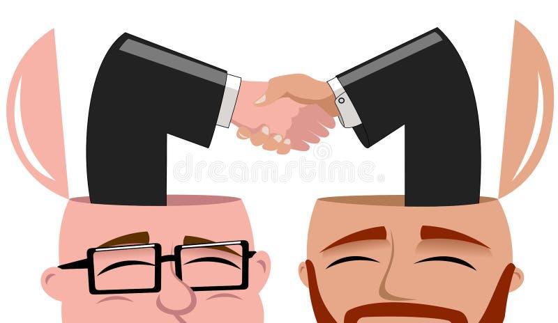 Men Open Minded Handshaking Deal Isolated vector illustration