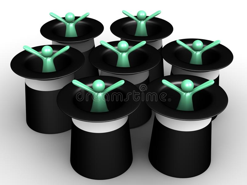 Download Men out the Hat stock illustration. Illustration of magician - 25954356