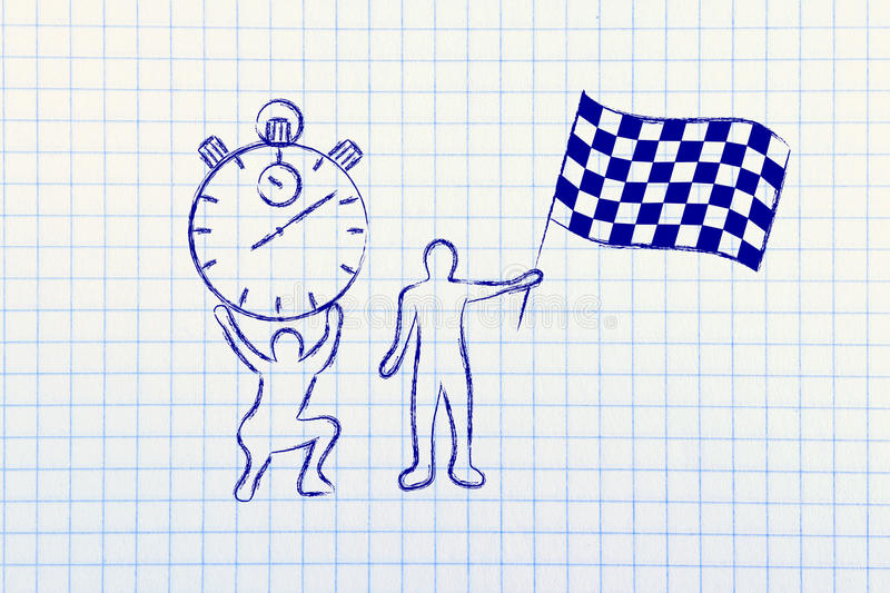 Men with oversized stopwatch and chekered flag royalty free illustration