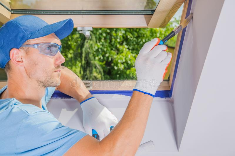 Men Painting His Room royalty free stock photography