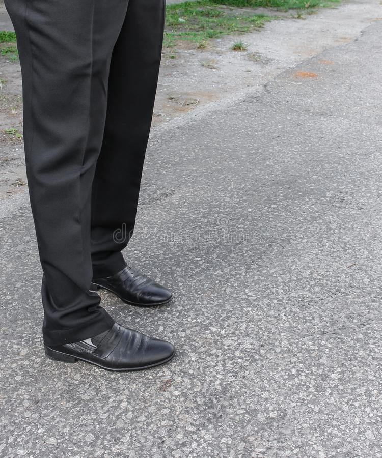 Men pants and shoes. Legs of businessmen royalty free stock photography