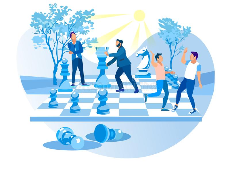 Men Play Big Chess in City Park. Chess Pieces. stock illustration