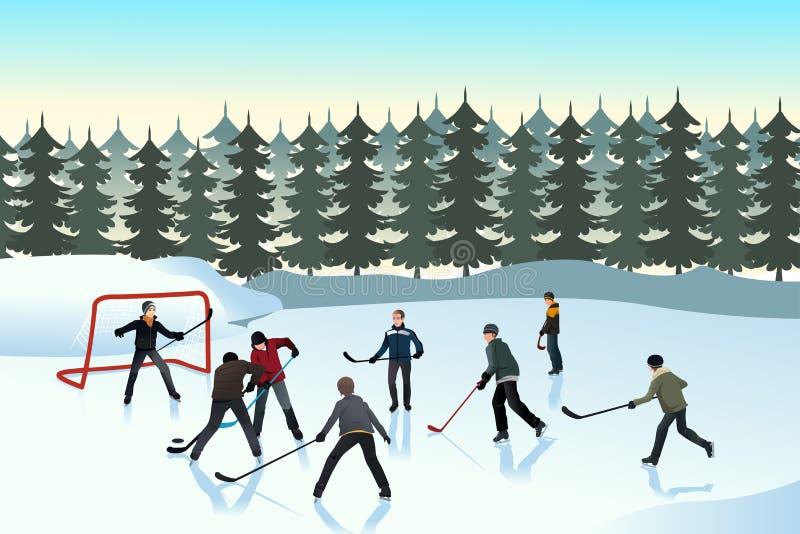 Men playing ice hockey outdoor royalty free illustration