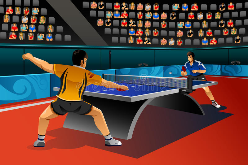 Men Playing Table Tennis in the Competition stock illustration