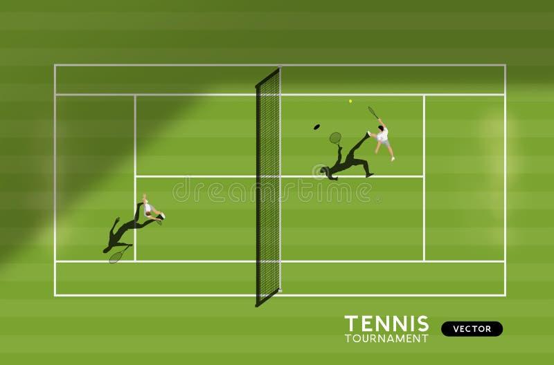 Men Playing Tennis On A Grass Court. Men`s match of tennis on a grass court. Top down view of the sport, vector illustration stock illustration