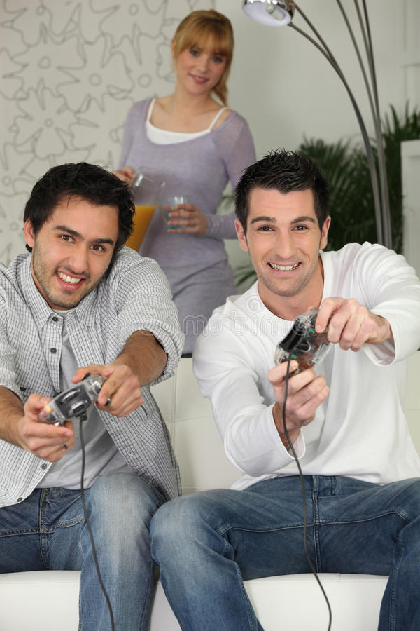 Download Men playing video games stock photo. Image of computer - 26936912
