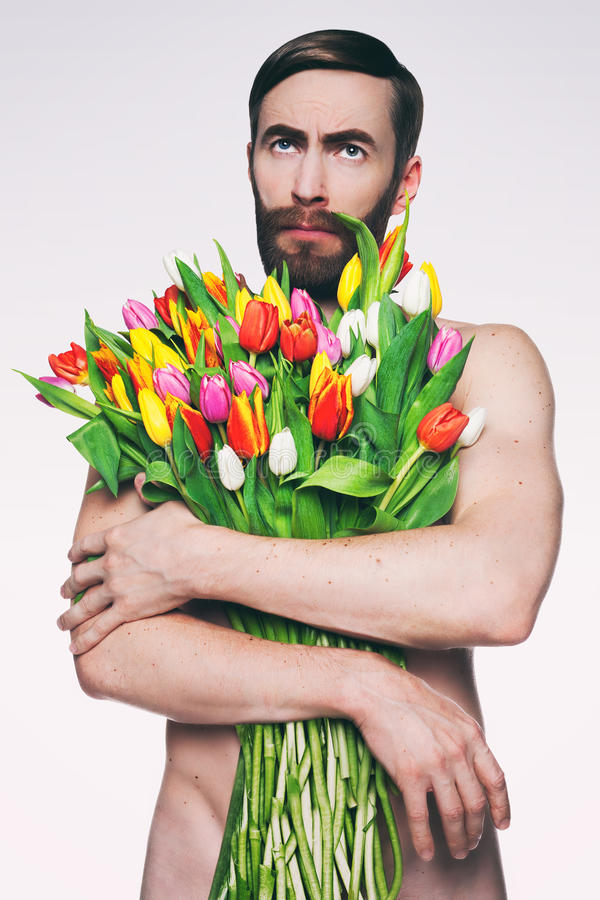 Men Portrait With A Bouquet Of Flowers. Stock Photo - Image of male ...