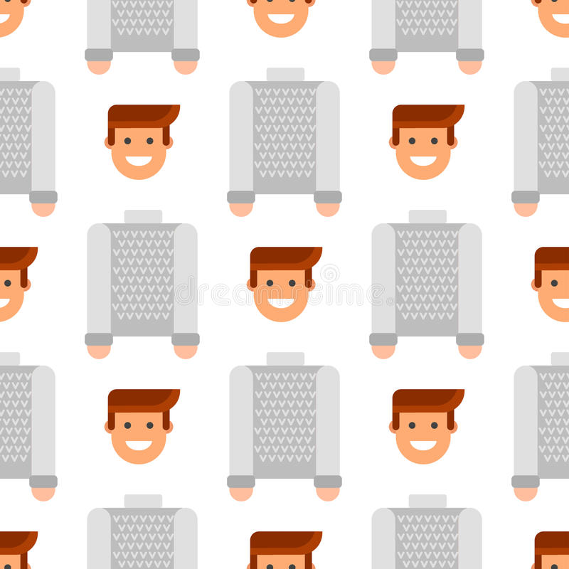 Men portrait seamless pattern friendship character team happy people young guy person vector illustration. Handsome teamwork casual fashion friends background royalty free illustration