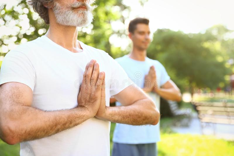 Men practicing morning yoga in sunny stock images