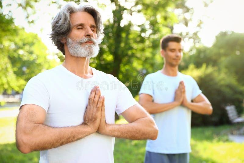 Men practicing morning yoga in sunny royalty free stock photos