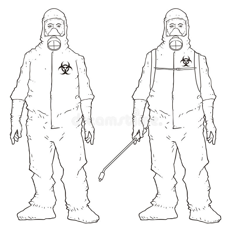 Men in protective suit vector illustration